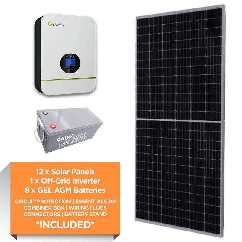 Growatt 5kW – Kijo 19.2kWh AGM – Solar Power Kit