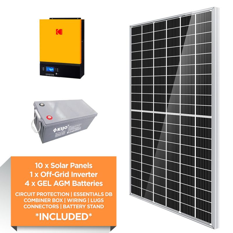 KODAK 3kW – Kijo 9.6kWh AGM – Solar Power Kit