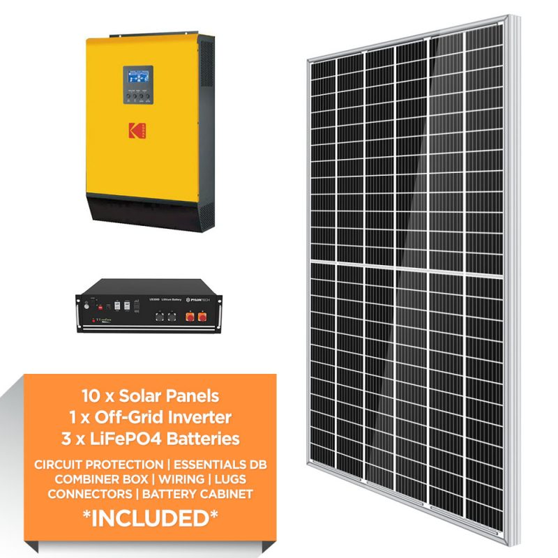 KODAK 5kW – Pylontech 10.5kWh Lithium Iron – Solar Power Kit