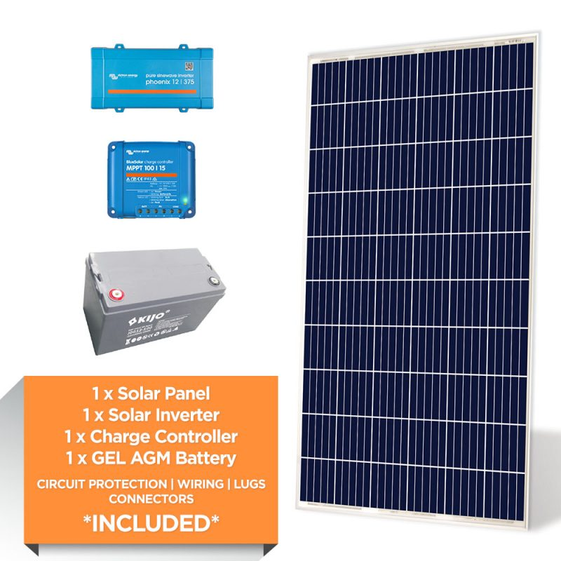 Victron 300W – Kijo 1.2kWh AGM – Solar Power Starter Kit