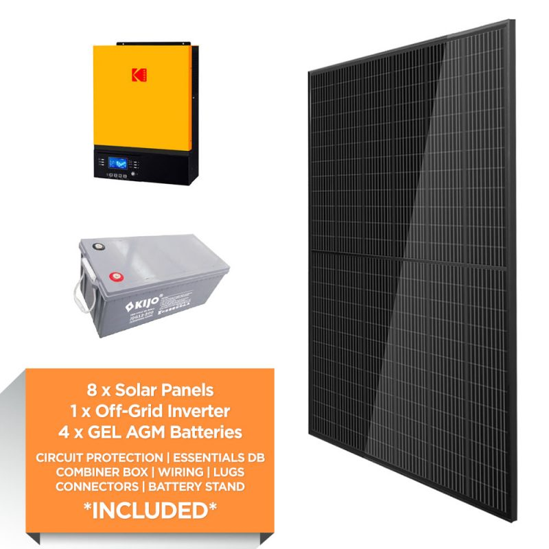 KODAK 3kW – Kijo 9.6kWh AGM – Solar Power Kit – Full Black
