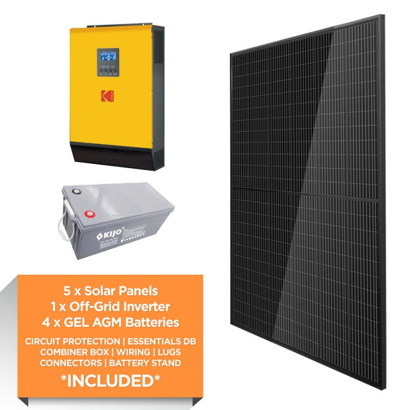 KODAK 5kW – Kijo 9.6kWh AGM – Solar Power Kit – Full Black