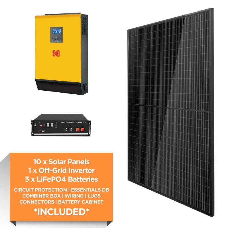 KODAK 5kW – Pylontech 10.5kWh Lithium Iron – Full Black – Solar Power Kit