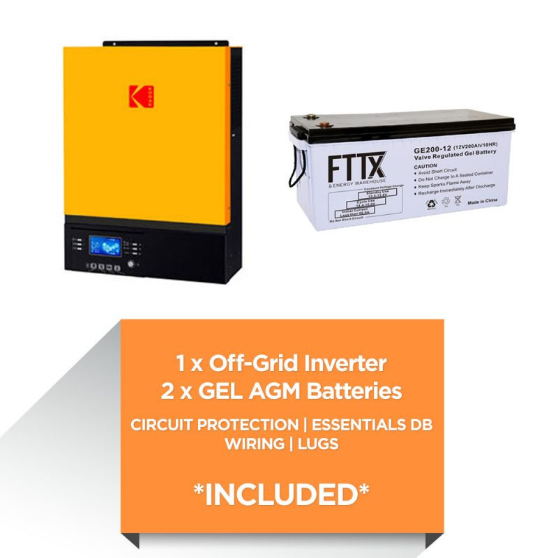 KODAK 3kW – FTTX 4.8kWh AGM – Load Shedding Kit