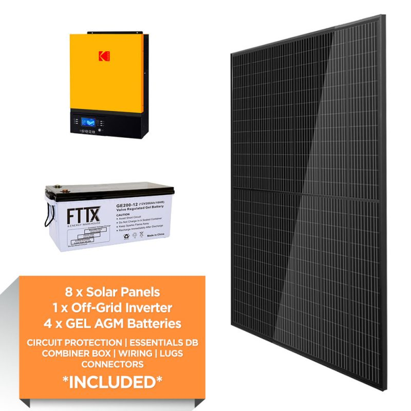 KODAK 3kW – FTTX 9.6kWh AGM – Solar Power Kit – Full Black