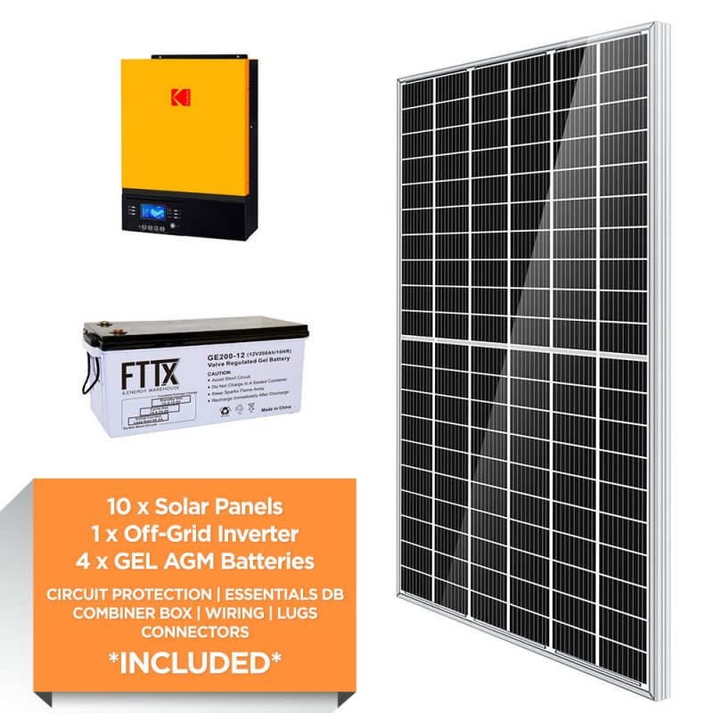 KODAK 3kW – FTTX 9.6kWh AGM – Solar Power Kit