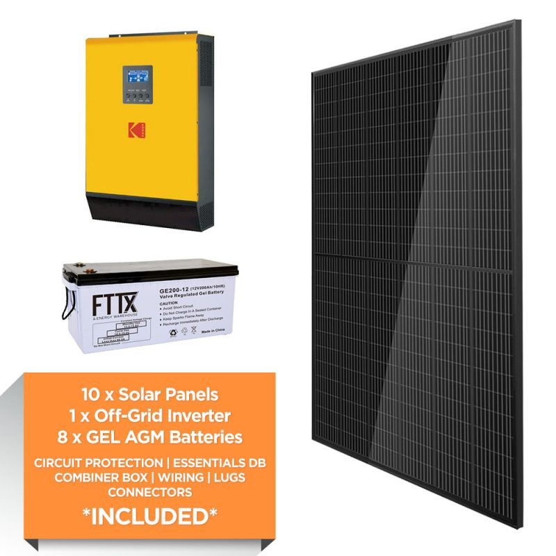KODAK 5kW – FTTX 19.2kWh AGM – Solar Power Kit – Full Black