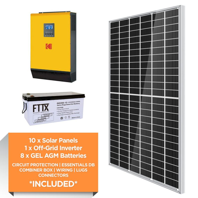 KODAK 5kW – FTTX 19.2kWh AGM – Solar Power Kit