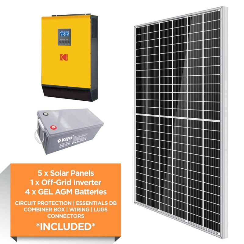 KODAK 5kW – FTTX 9.6kWh AGM – Solar Power Kit