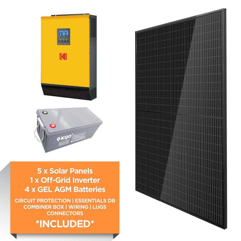 KODAK 5kW – Kijo 9.6kWh AGM – Solar Power Kit – Full Black
