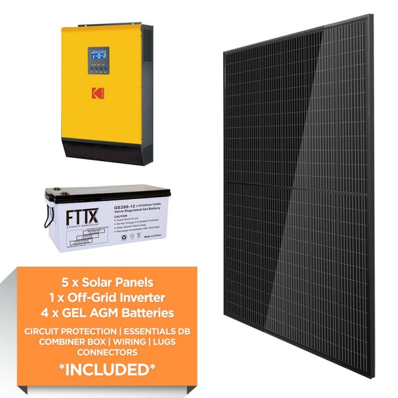KODAK 5kW – FTTX 9.6kWh AGM – Solar Power Kit – Full Black