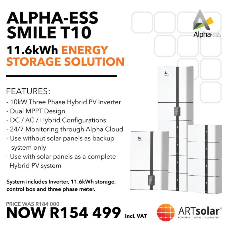 BLACK FRIDAY – Alpha-ESS – SMILE T10 – 10kVA | 11.6kWh Lithium Energy Storage Solution
