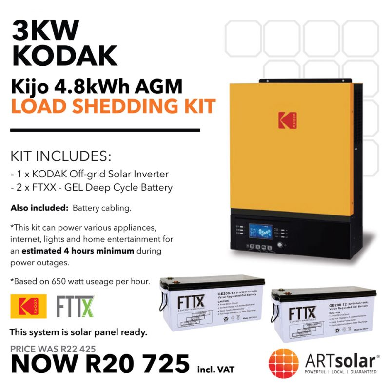 BLACK FRIDAY – KODAK 3kW – FTTX 4.8kWh AGM-Load Shedding Kit