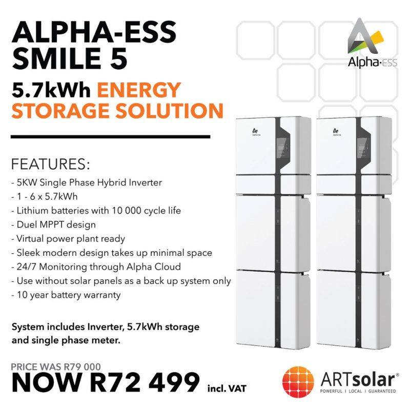 BLACK FRIDAY – Alpha-ESS – SMILE 5 – 5kVA | 5.7kWh Lithium Energy Storage Solution