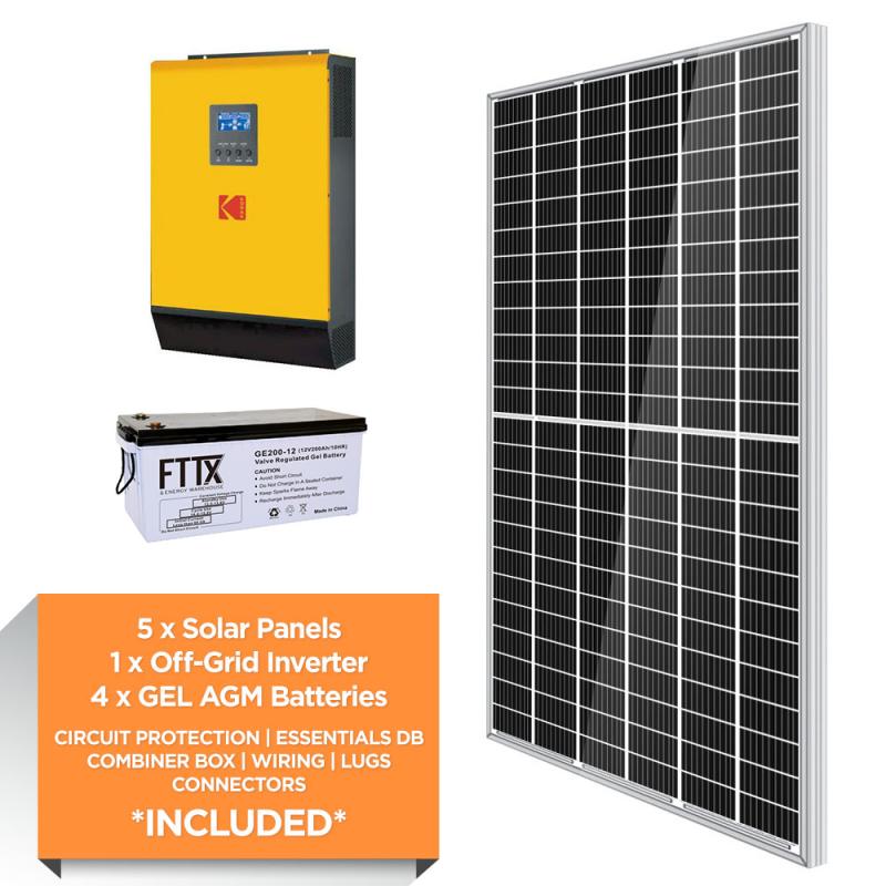KODAK 5kW – FTTX 9.6kWh AGM – Solar Power Kit